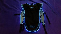 Light Up LED BLUE Camelbak Style Hydration Pack Water Backpa
