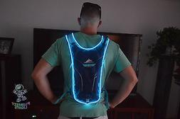 Neon BLUE Rave Ready EDC EDM Hydrapack Back Pack Waterbag Ca